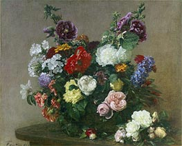 A Bouquet of Mixed Flowers, 1881 by Fantin-Latour | Painting Reproduction