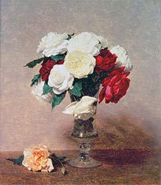 Roses in a Vase with Stem, 1890 by Fantin-Latour | Painting Reproduction
