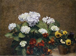 Hortensias and Stocks with Two Pots of Pansies, 1879 by Fantin-Latour | Painting Reproduction