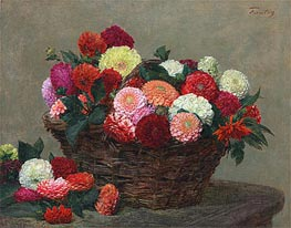 Basket of Dahlias, 1893 by Fantin-Latour | Painting Reproduction