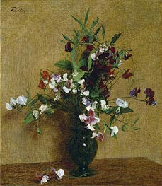 Sweet Peas in a Vase, 1888 by Fantin-Latour | Painting Reproduction