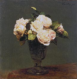 White Roses, 1873 by Fantin-Latour | Painting Reproduction