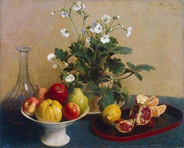 Flowers, Dish with Fruit and Carafe | Fantin-Latour | Painting Reproduction