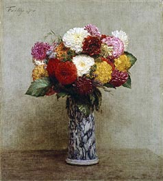 Dahlias in a Chinese Vase | Fantin-Latour | Painting Reproduction