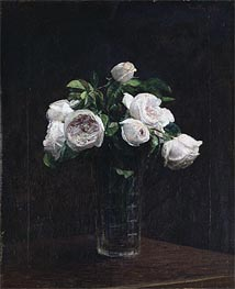Blush Roses in a Glass, 1872 von Fantin-Latour | Gemälde-Reproduktion