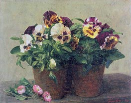 Still Life of Pansies and Daisies, 1889 von Fantin-Latour | Gemälde-Reproduktion