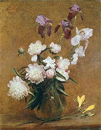 Bouquet of Peonies and Irises, 1883 von Fantin-Latour | Gemälde-Reproduktion