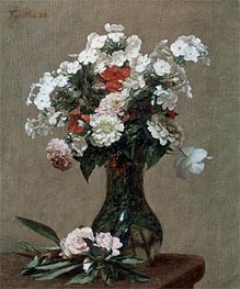 Still Life with Zinnias and Phlox | Fantin-Latour | Painting Reproduction