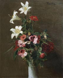 Flowers in a Porcelain Vase, 1863 by Fantin-Latour | Painting Reproduction