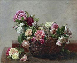 Basket of Roses, 1880 by Fantin-Latour | Painting Reproduction