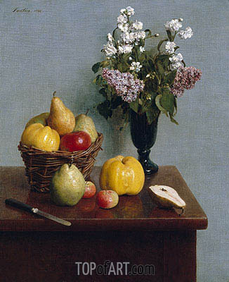 Still Life with Flowers and Fruit, 1866 | Fantin-Latour | Painting Reproduction