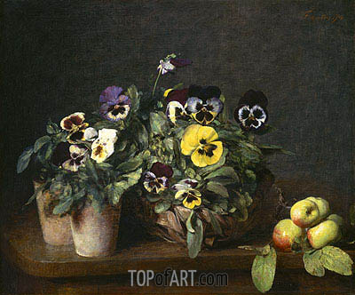 Still Life with Pansies, 1874 | Fantin-Latour | Painting Reproduction