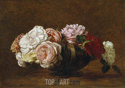 Roses in a Bowl, 1883 | Fantin-Latour | Painting Reproduction