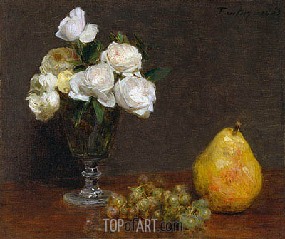 Still Life with Roses and Fruit, 1863 | Fantin-Latour | Painting Reproduction
