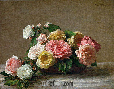 Roses in a Bowl, 1882 | Fantin-Latour | Painting Reproduction