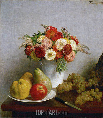 Flowers and Fruits, 1865 | Fantin-Latour | Painting Reproduction
