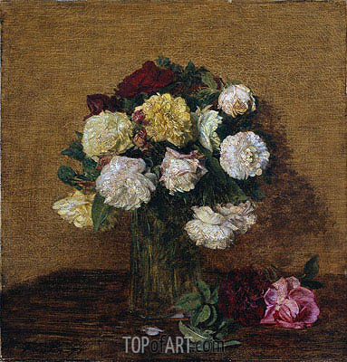 Roses in a Vase, 1878 | Fantin-Latour | Painting Reproduction