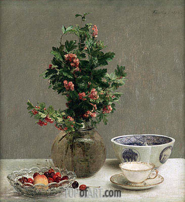 Still Life with Vase of Hawthorn, Bowl of Cherries, Japanese Bowl, Cup and Saucer, 1872 | Fantin-Latour | Painting Reproduction