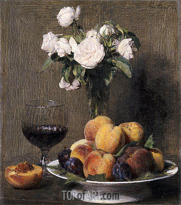 Still Life with Roses, Fruit and a Glass of Wine, 1872 | Fantin-Latour | Gemälde Reproduktion