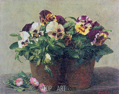 Still Life of Pansies and Daisies, 1889 | Fantin-Latour | Gemälde Reproduktion