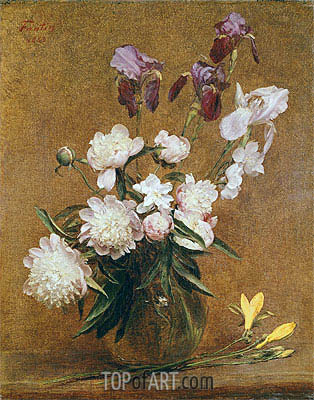 Bouquet of Peonies and Irises, 1883 | Fantin-Latour | Gemälde Reproduktion