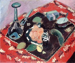 Dishes and Fruit on a Red and Black Carpet, 1906 von Matisse | Gemälde-Reproduktion