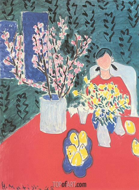 Plum Blossoms, Green Background, 1948 | Matisse | Painting Reproduction