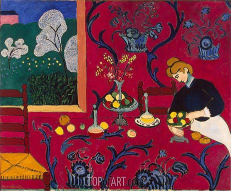 The Red Room (Harmony in Red), 1908 | Matisse | Gemälde Reproduktion