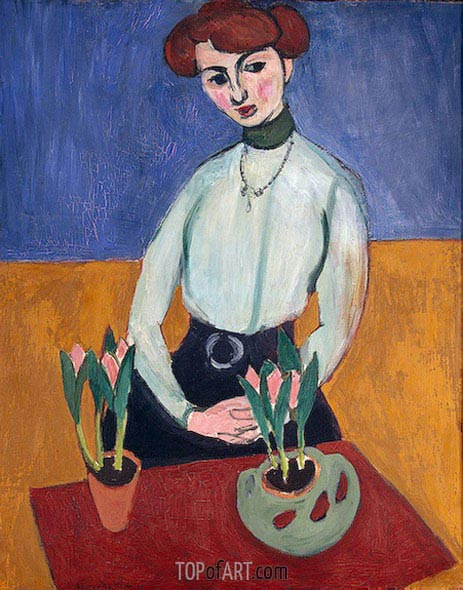 Girl with Tulips, 1910 | Matisse | Gemälde Reproduktion