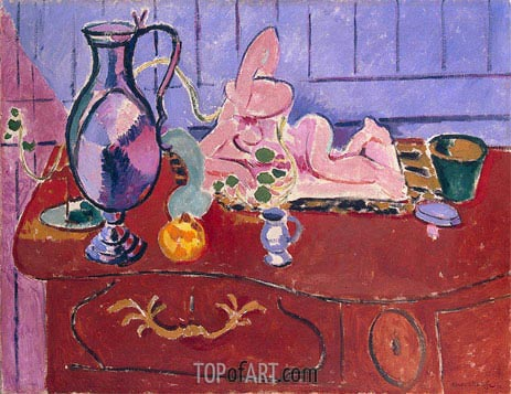 Pink Statuette and Jug on a Red Chest of Drawers, 1910   Matisse   Gemälde Reproduktion