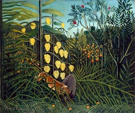 In a Tropical Forest. Struggle between Tiger and Bull | Henri Rousseau | Painting Reproduction