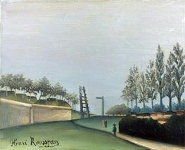 View of the Fortifications to the left of the Gate of Vanves, 1909 by Henri Rousseau | Painting Reproduction