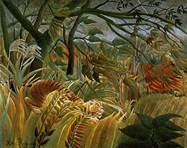 Tiger in a Tropical Storm (Surprised!), 1891 by Henri Rousseau | Painting Reproduction