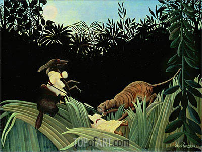 Scout Attacked by a Tiger, 1904   Henri Rousseau   Painting Reproduction