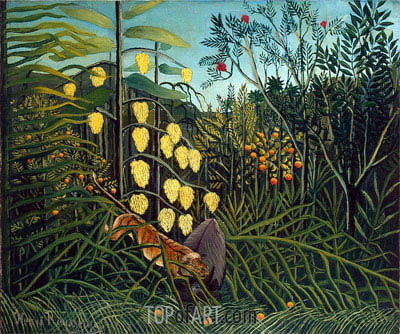 In a Tropical Forest. Struggle between Tiger and Bull, c.1908/09 | Henri Rousseau | Painting Reproduction