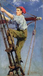 Going Aloft, c.1886 by Tuke | Painting Reproduction