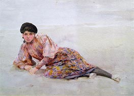 Girl on the Beach, undated by Tuke | Painting Reproduction