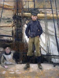Two Children on Deck, undated by Tuke | Painting Reproduction