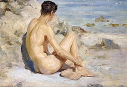 Boy on a Beach | Tuke | Painting Reproduction