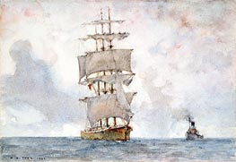 Barque and Tug, 1922 by Tuke | Painting Reproduction