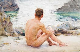 Charlie Seated on the Sand, 1907 by Tuke | Painting Reproduction