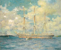 A French Barque in Falmouth Bay, 1902 by Tuke | Painting Reproduction
