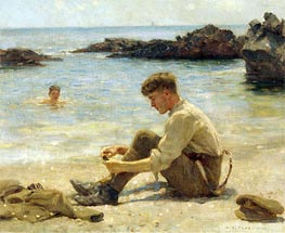 T. E. Lawrence as a cadet at Newporth Beach, near Falmouth, 1906 by Tuke | Painting Reproduction