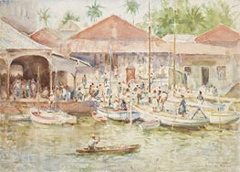 The Market, Belize, British Honduras, 1924 by Tuke | Painting Reproduction
