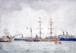 Ships in Harbour, c.1919 by Tuke | Painting Reproduction