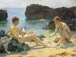 The Sun Bathers, 1927 by Tuke | Painting Reproduction