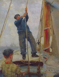 Hoisting the Mainsail, 1890 by Tuke | Painting Reproduction