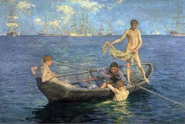 August Blue, c.1893/94 by Tuke | Painting Reproduction