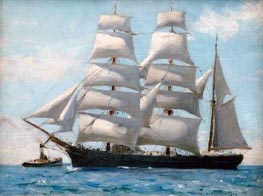 Barque in Full Sail Dropping Her Tug | Tuke | Painting Reproduction