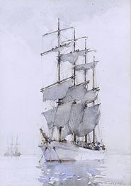 Four-Masted Barque, 1914 by Tuke | Painting Reproduction